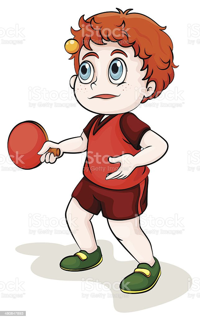Caucasian young man playing tabletennis royalty-free stock vector art