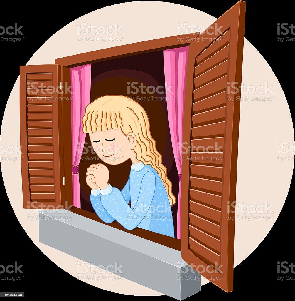 caucasian/western girl praying royalty-free stock vector art