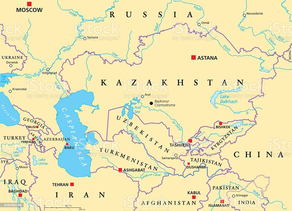 Caucasus and Central Asia Political Map vector art illustration