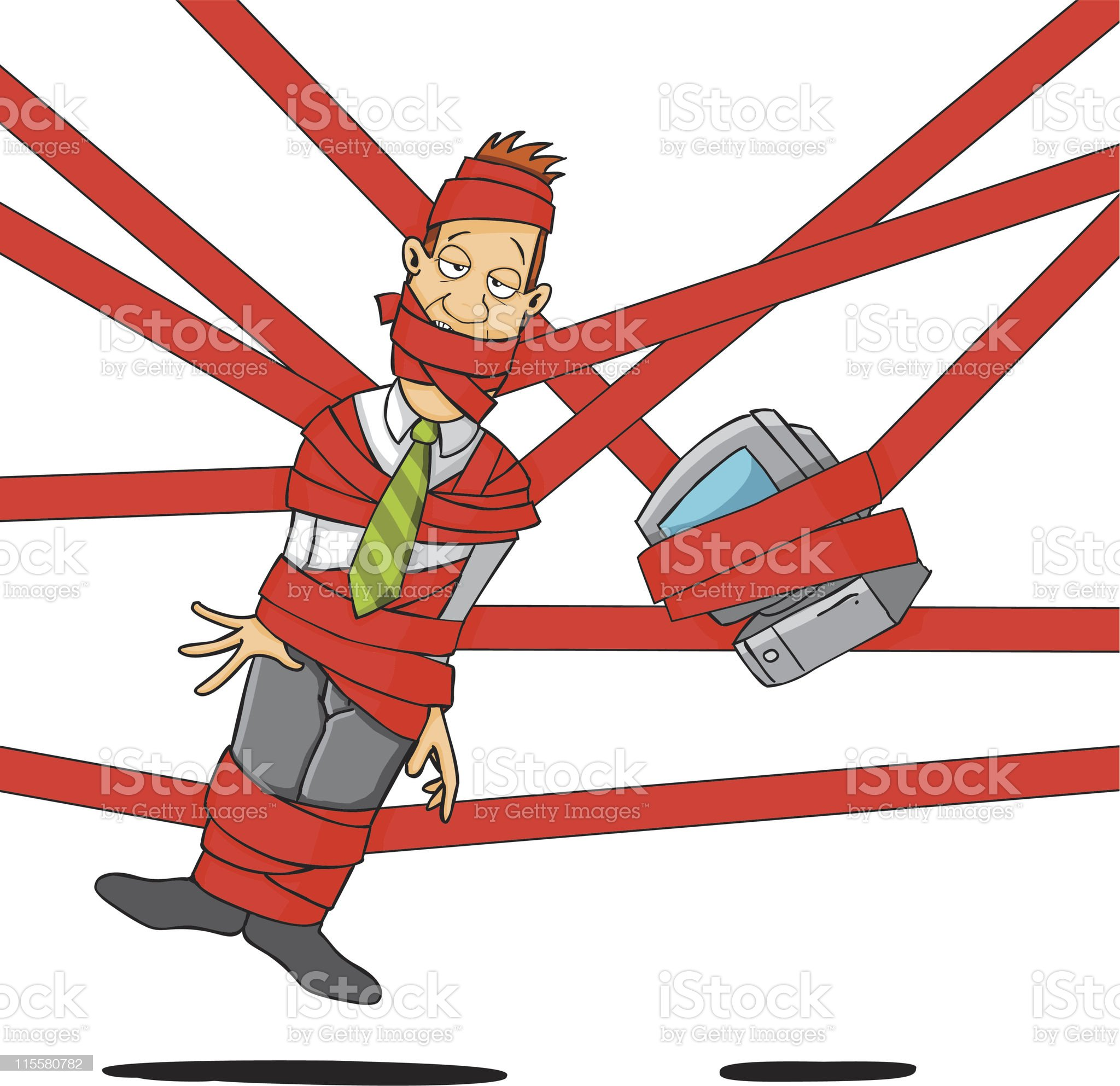 Caught in the red tape royalty-free stock vector art