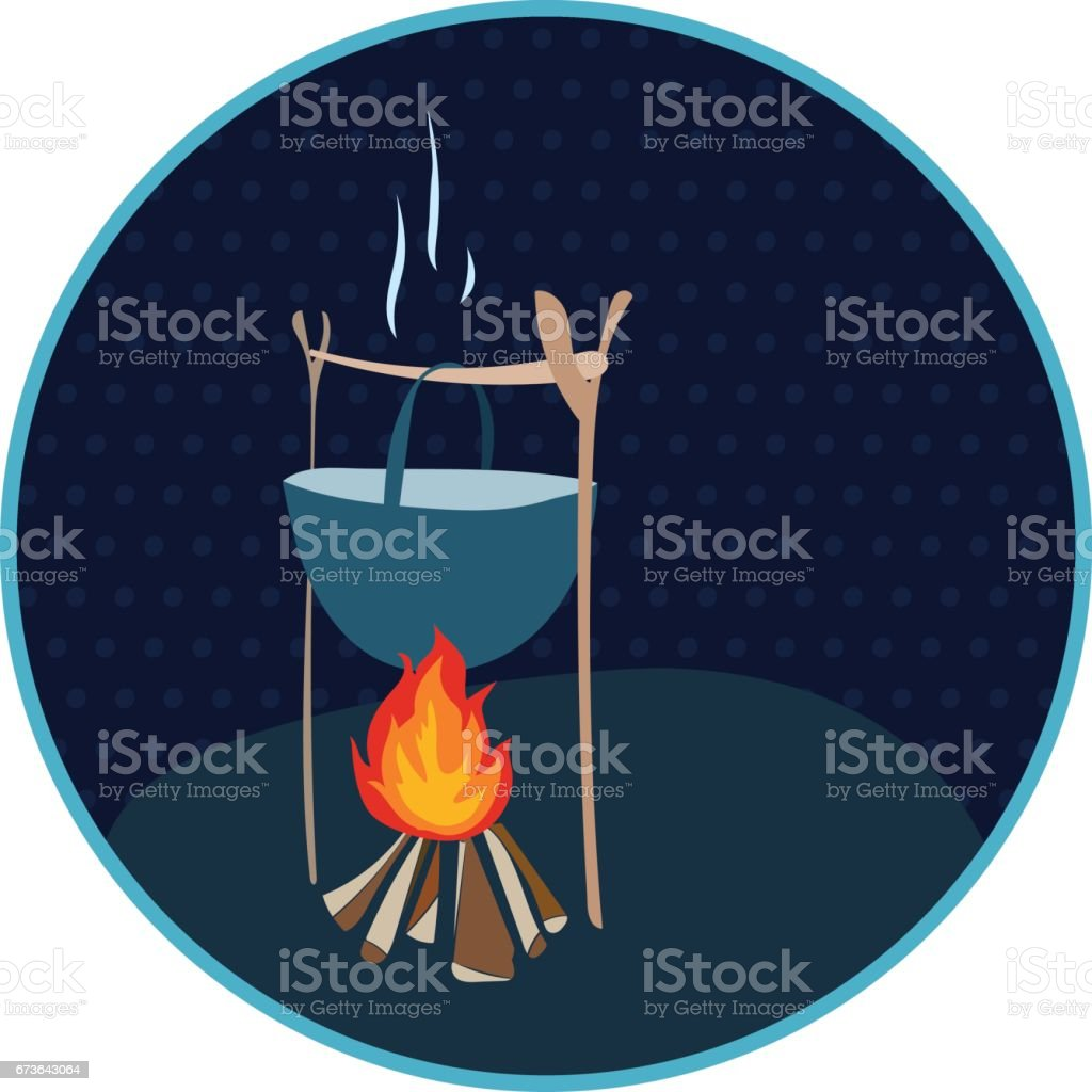Cauldron over a fire in a circle with polka dots. vector art illustration