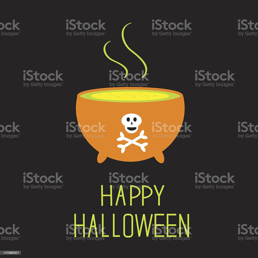 Cauldron with green potion. Happy Halloween card. royalty-free stock vector art