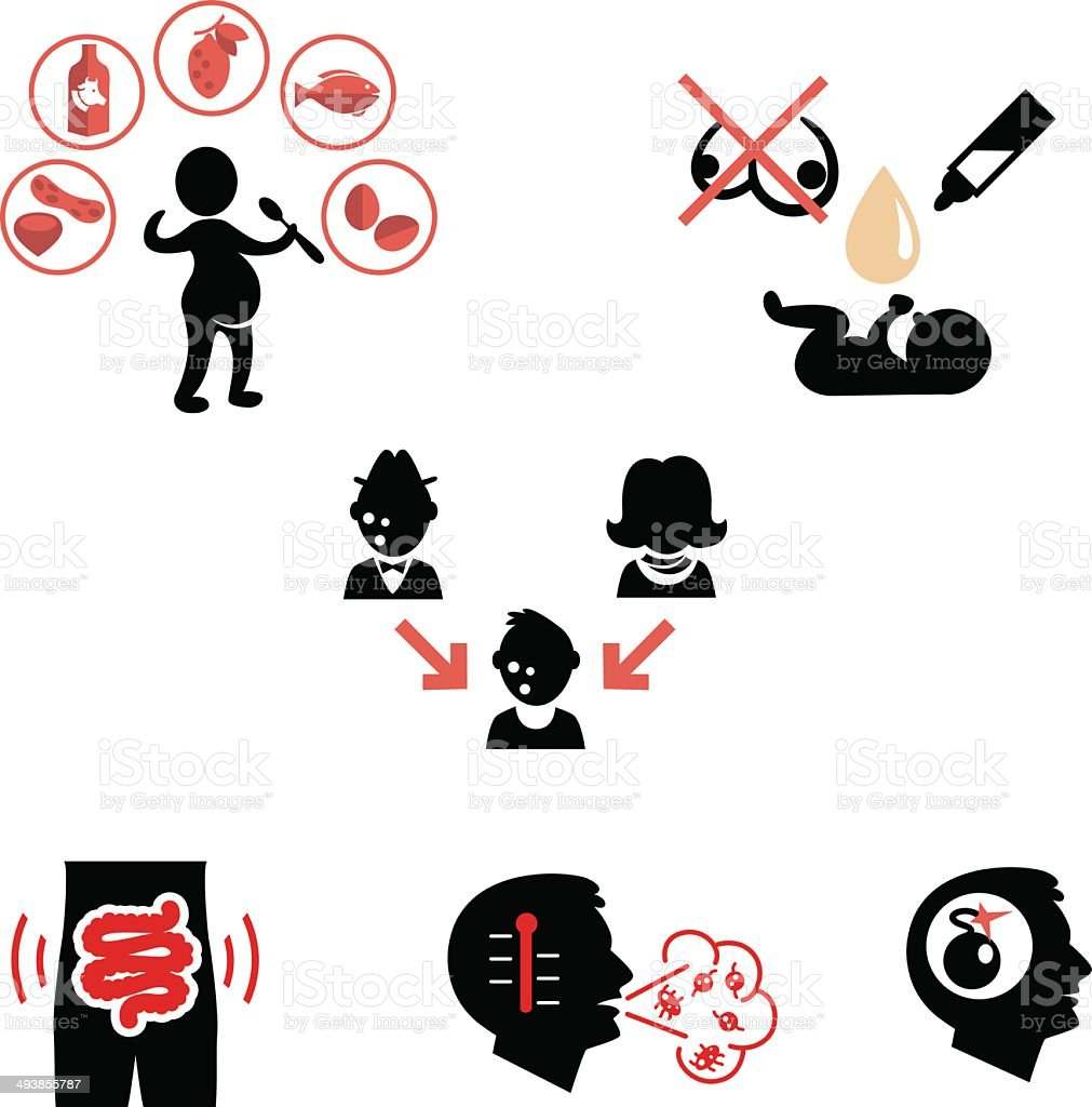 Causes of allergies as flat icons vector art illustration
