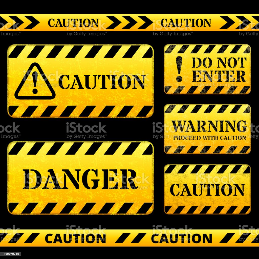 Caution and Tape Barricade Street Sign vector art illustration