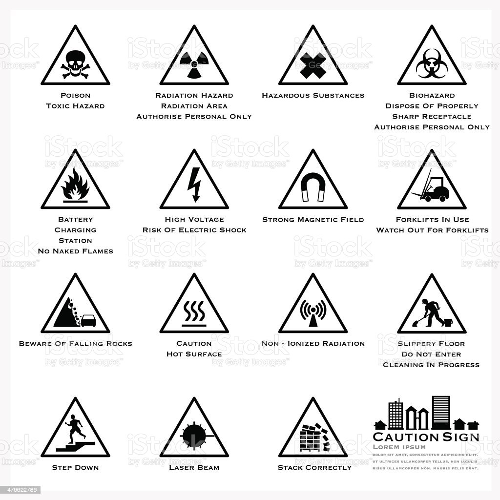 Caution And Warning Sign Icons Set vector art illustration