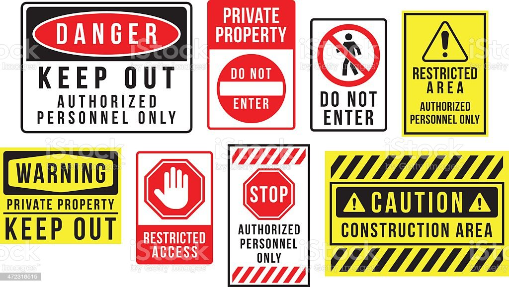 Caution danger and warning signs vector art illustration