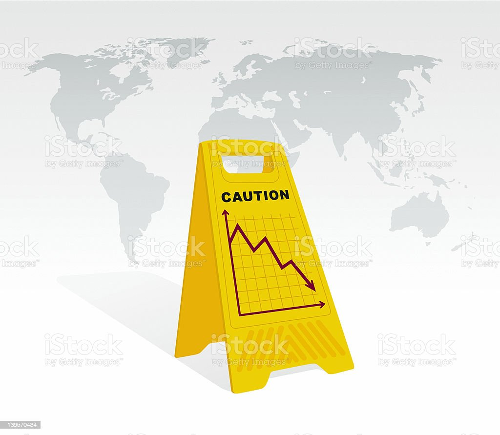 Caution - Global Economy Decline royalty-free stock photo