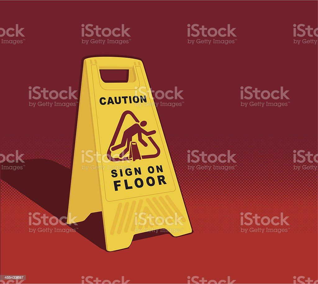 Caution - Sign on Floor royalty-free stock vector art