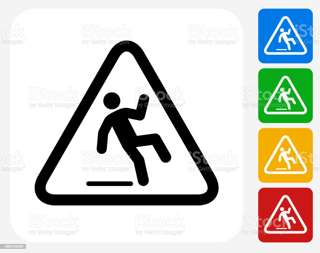 Caution Slippery Sign Icon Flat Graphic Design vector art illustration