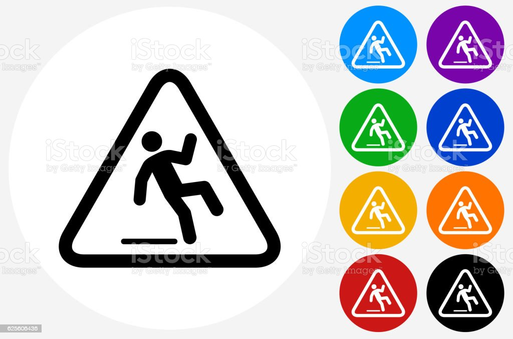 Caution Slippery Sign Icon on Flat Color Circle Buttons vector art illustration