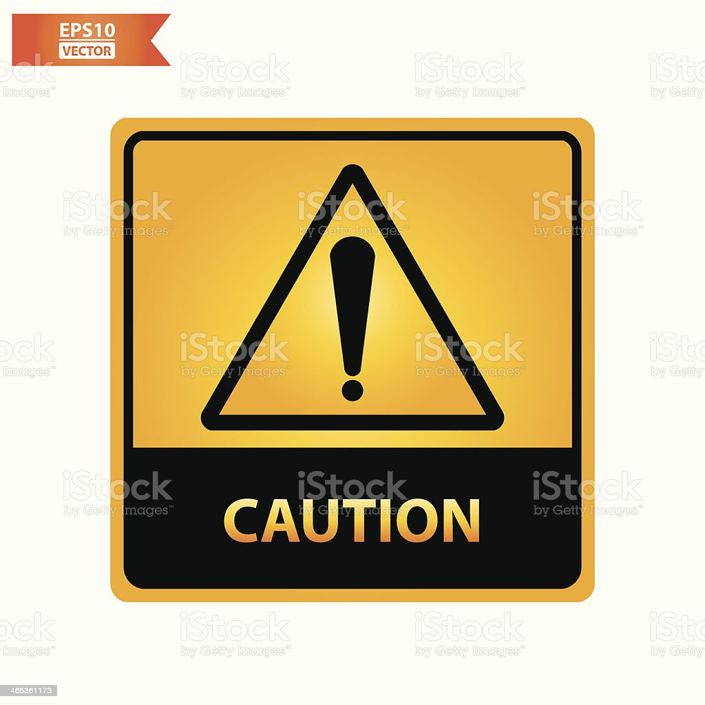 Caution text and sign. royalty-free stock vector art