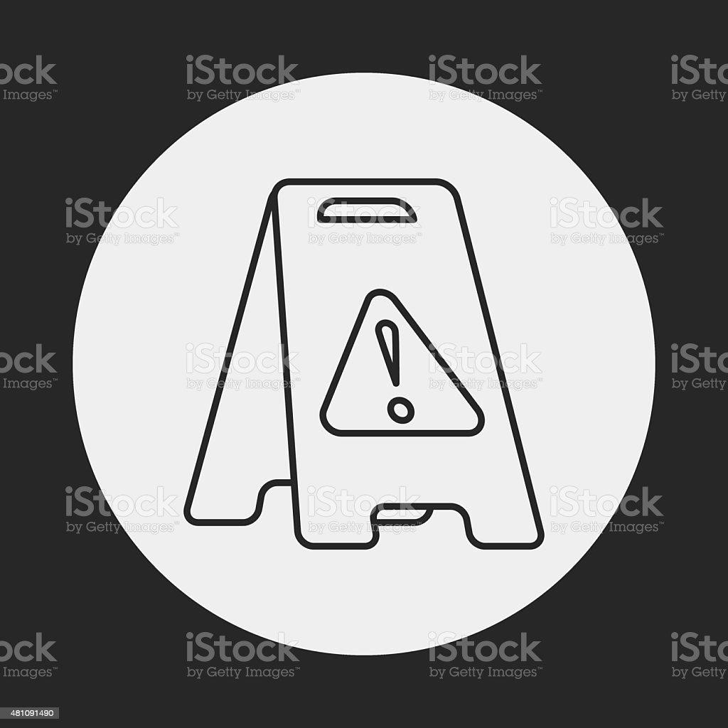 caution wet floor line icon vector art illustration