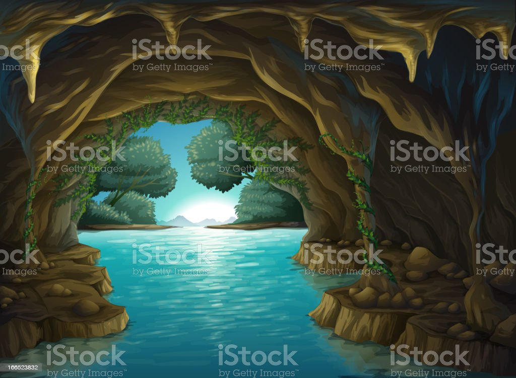 Cave and a water royalty-free stock vector art