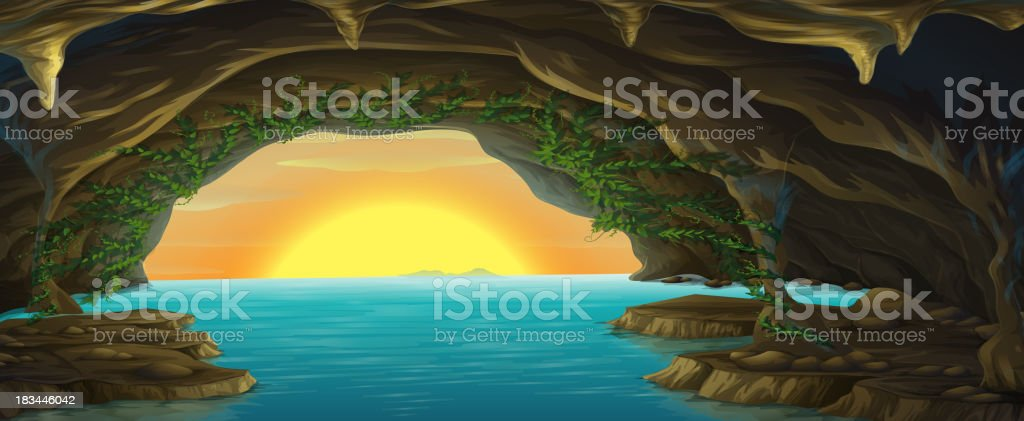 cave and a water vector art illustration