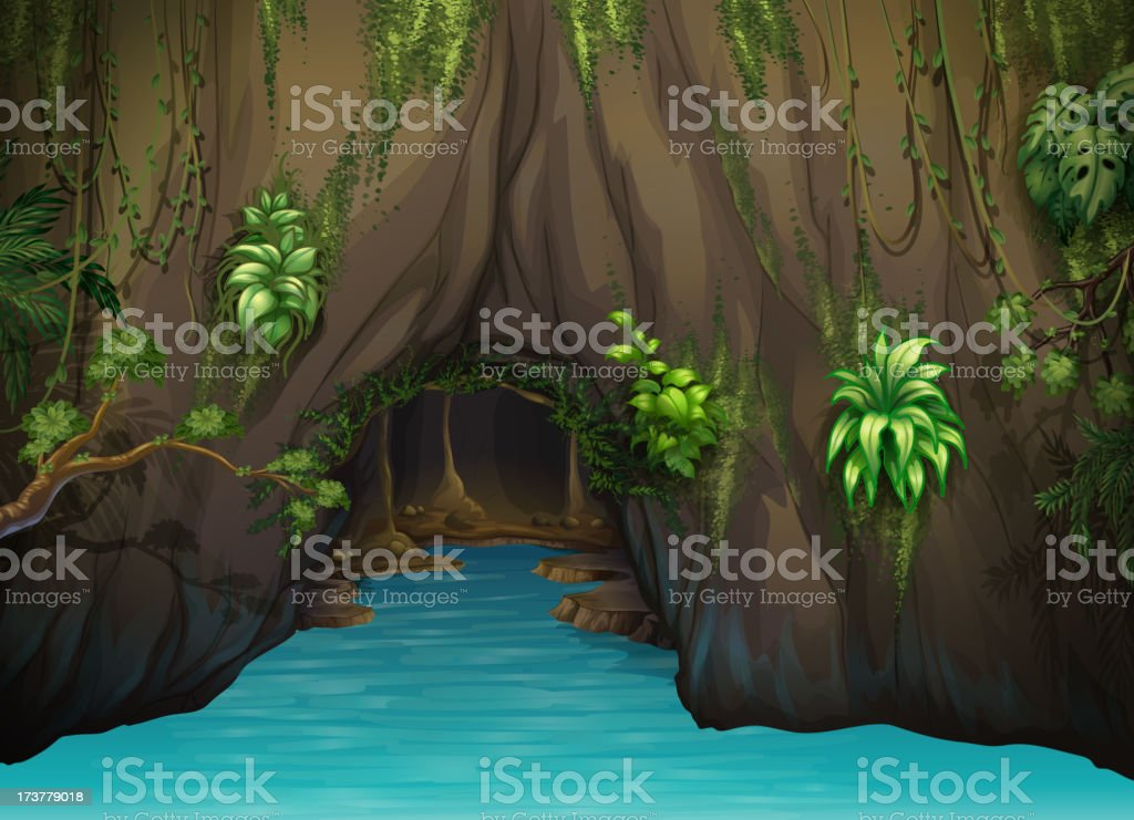 cave and water vector art illustration