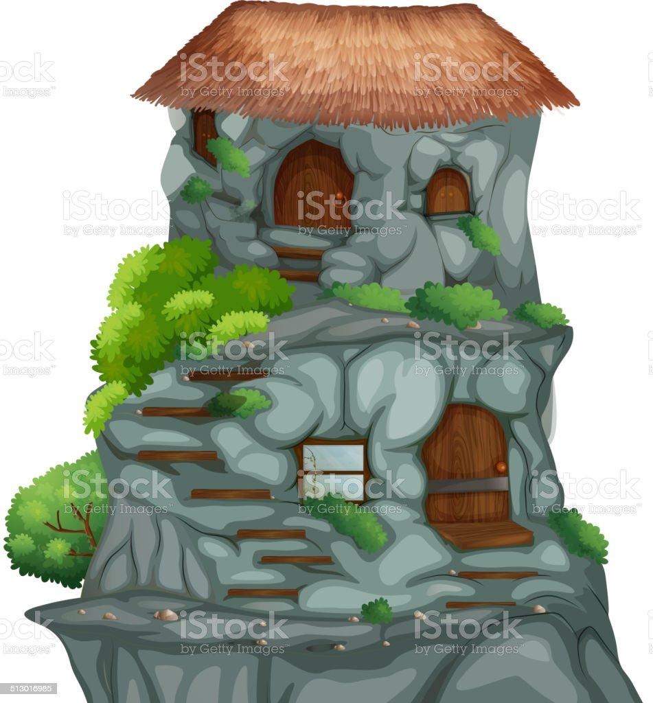 Cave house vector art illustration