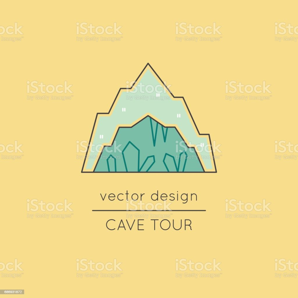Cave line icon vector art illustration