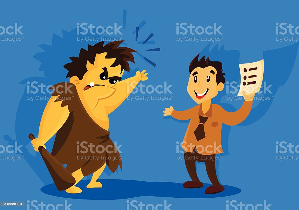 Cave man and rules vector art illustration