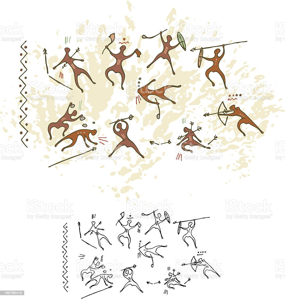 Cave Painting Battle royalty-free stock vector art