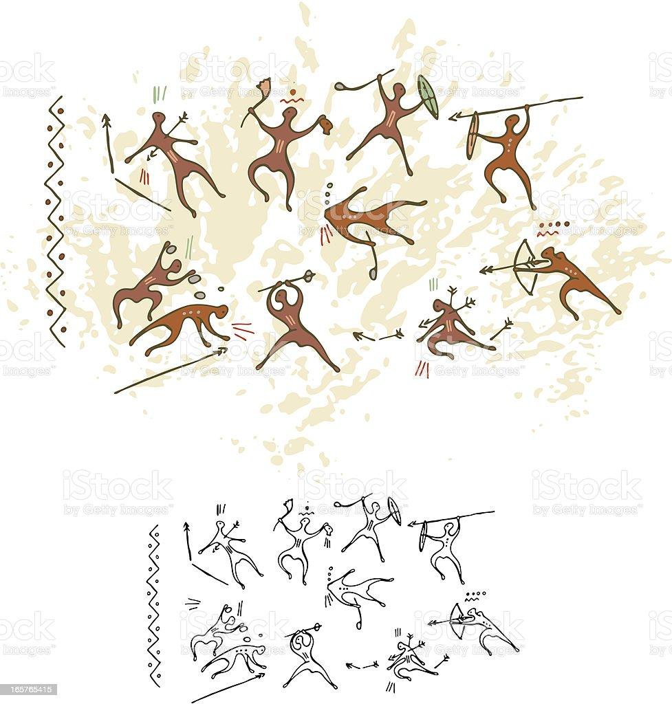 Cave Painting Battle vector art illustration