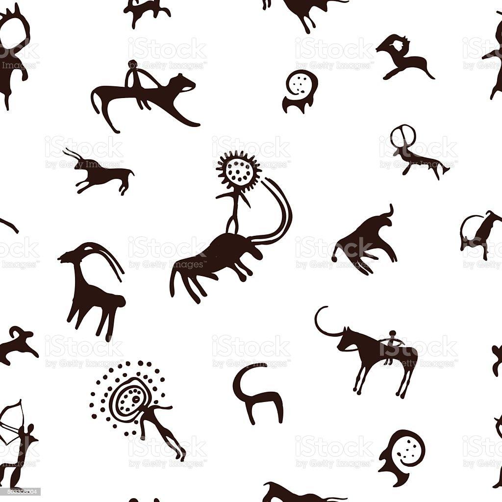 Cave painting seamless pattern vector art illustration