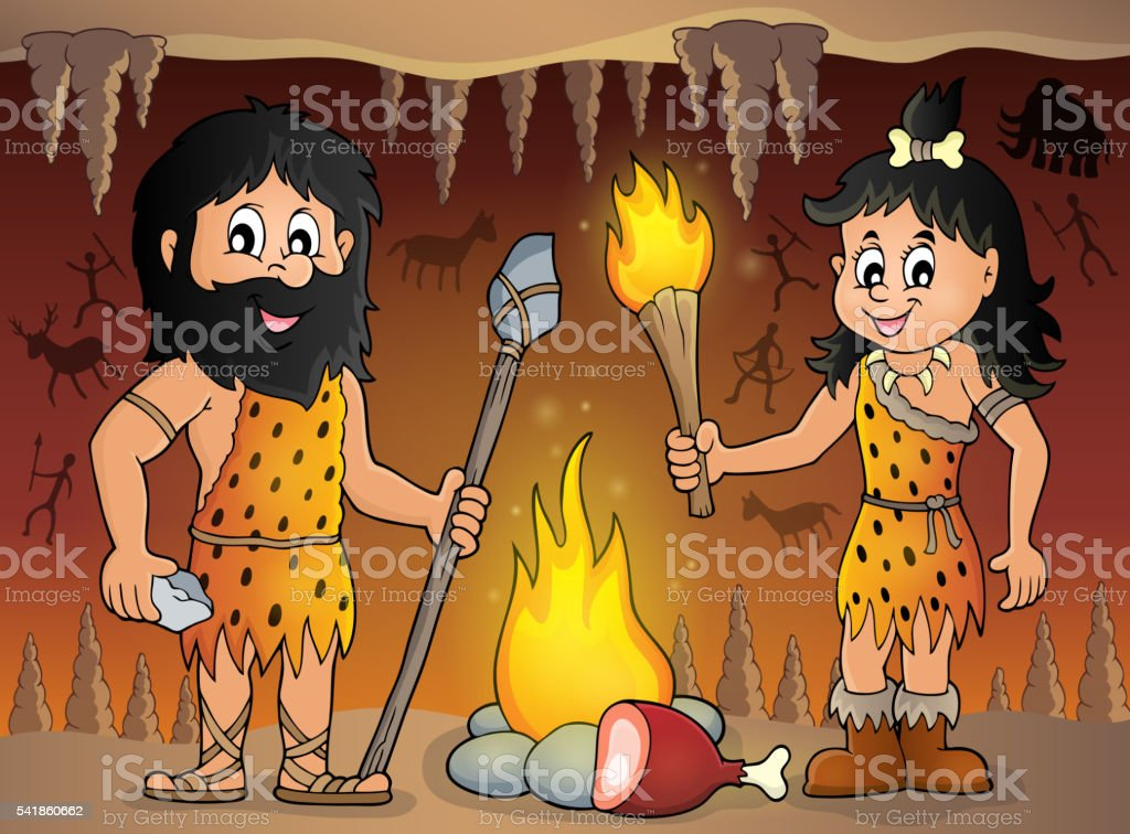 Cave people theme image 1 vector art illustration