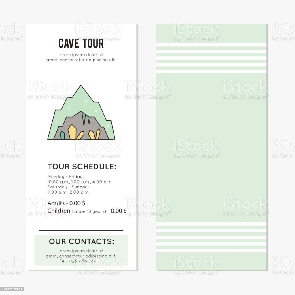 Cave tour vertical banner vector art illustration