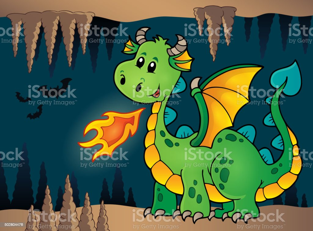 Cave with green happy dragon vector art illustration