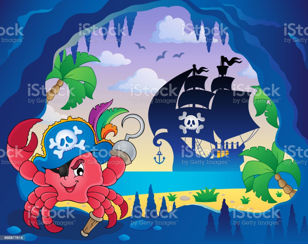 Cave with pirate crab vector art illustration