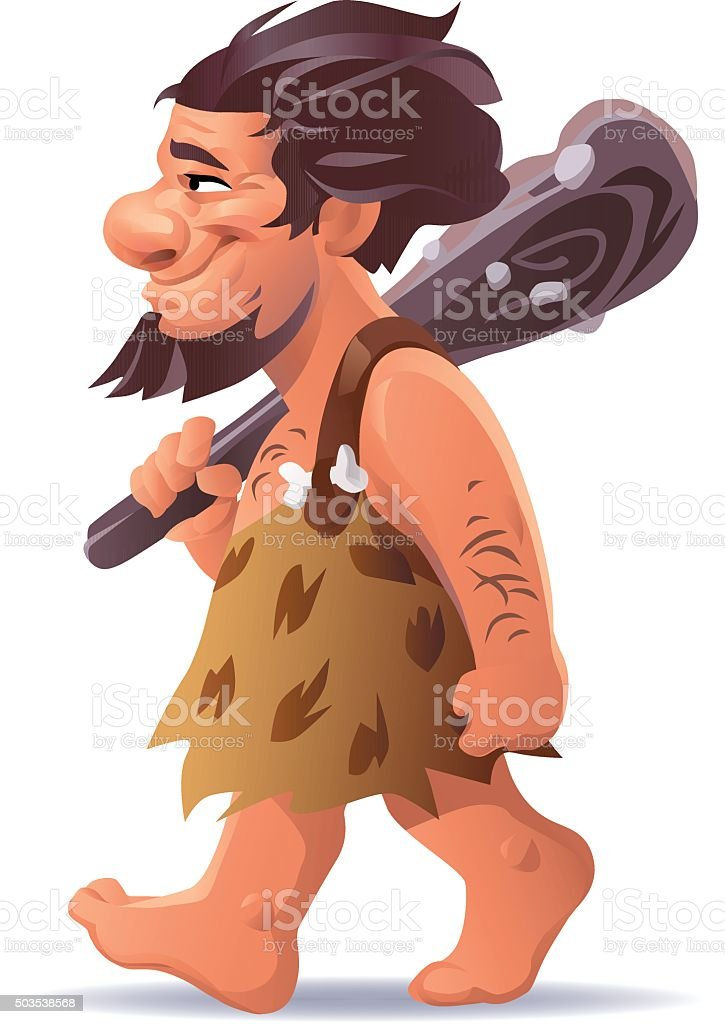 Caveman Carrying A Club Over His Shoulder vector art illustration