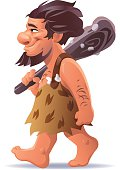Caveman Carrying A Club Over His Shoulder