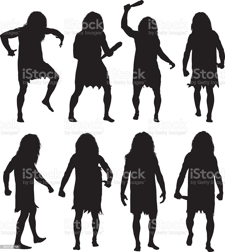 Caveman in action with club vector art illustration