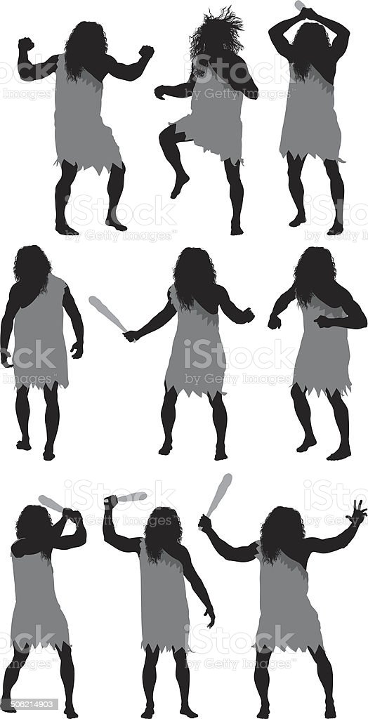 Caveman in different poses royalty-free stock vector art