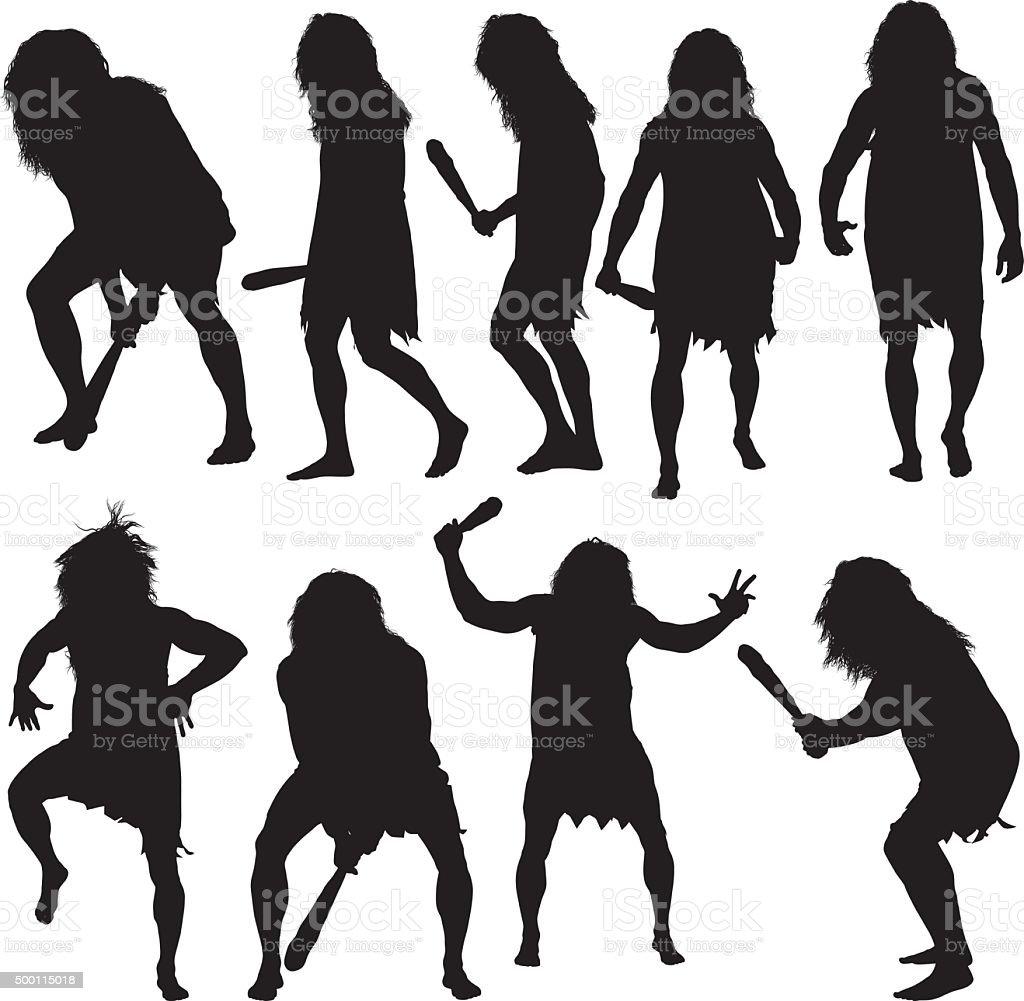 Caveman in various actions vector art illustration