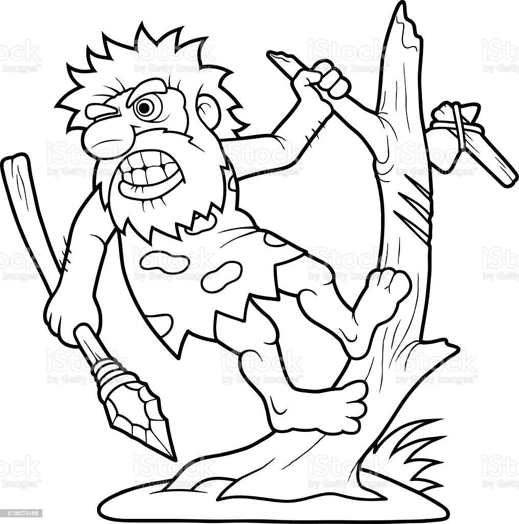 Caveman vector art illustration
