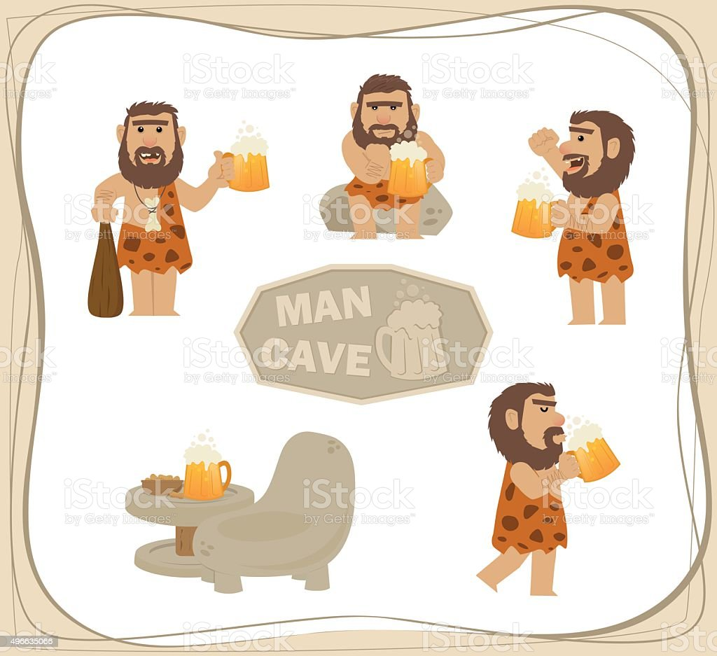Caveman With Beer vector art illustration