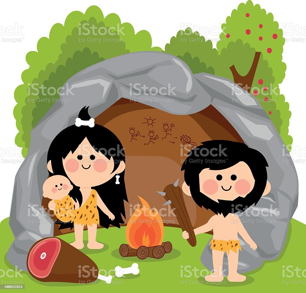 Cavemen family in stone cave vector art illustration