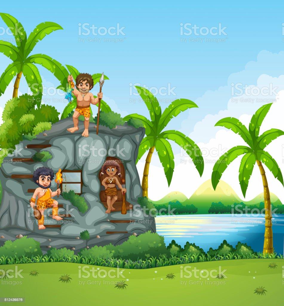 Cavemen living by the lake vector art illustration