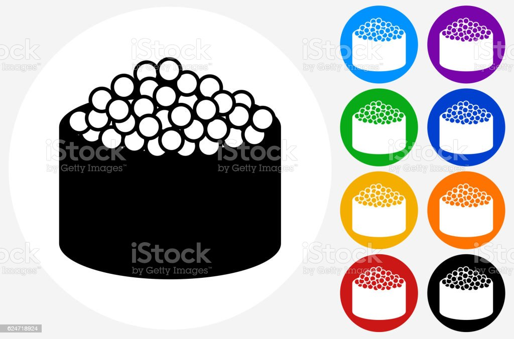 Caviar Sushi Roll Icon on Flat Color Circle Buttons vector art illustration