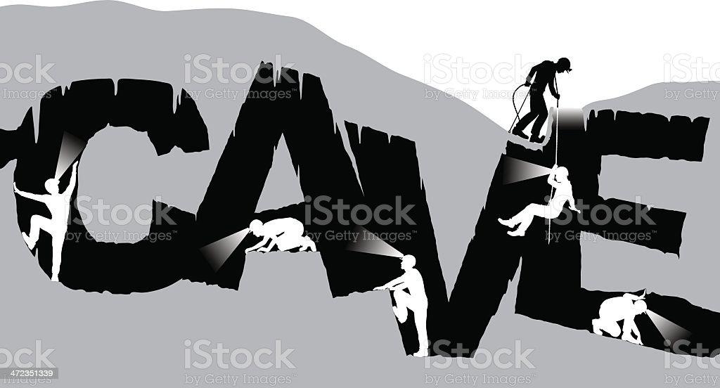 Caving vector art illustration