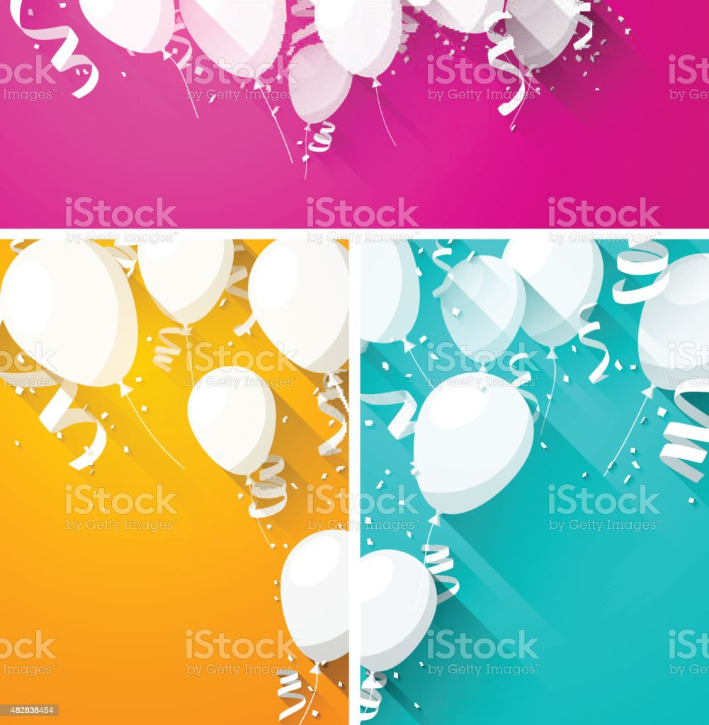Celebrate backgrounds with flat balloons vector art illustration
