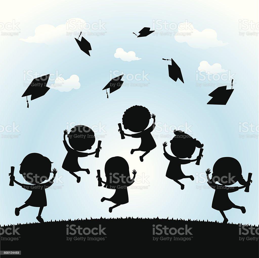 Celebrate graduation silhouette vector art illustration