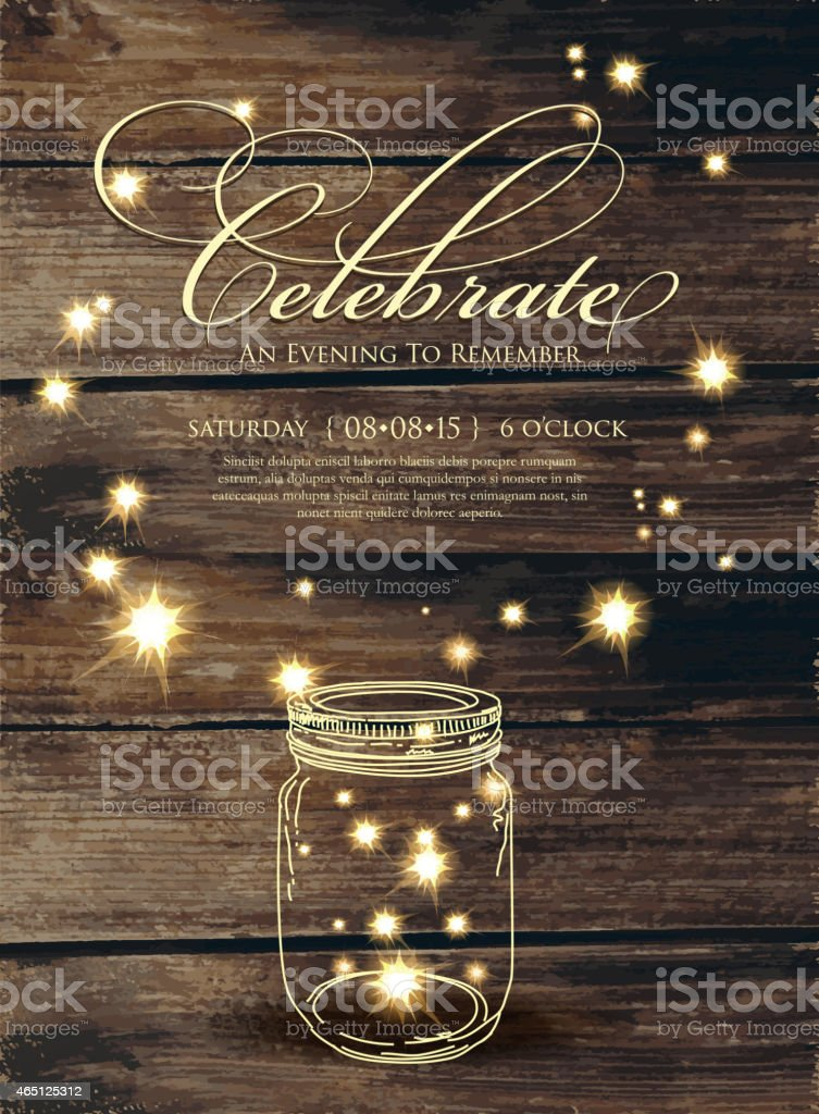 Rustic invitation design template with sparks and jar vector art illustration