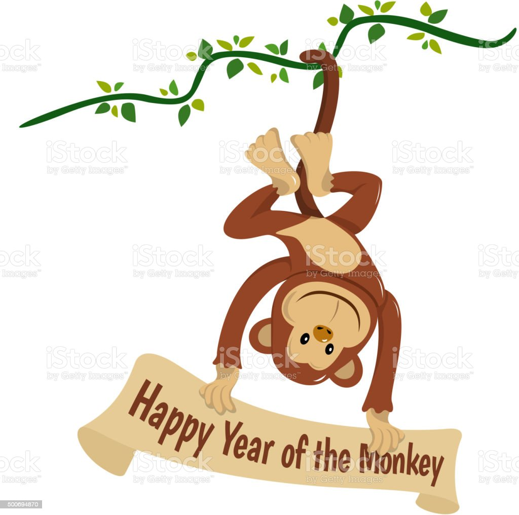 Celebrate the year of the monkey vector art illustration