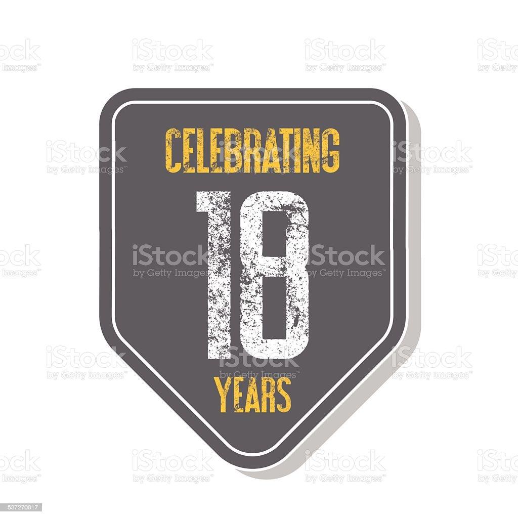 'Celebrating 18 years' banner. vector art illustration