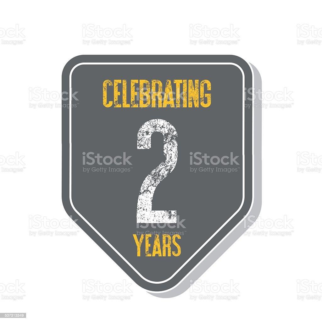 'Celebrating 2 years' banner. vector art illustration