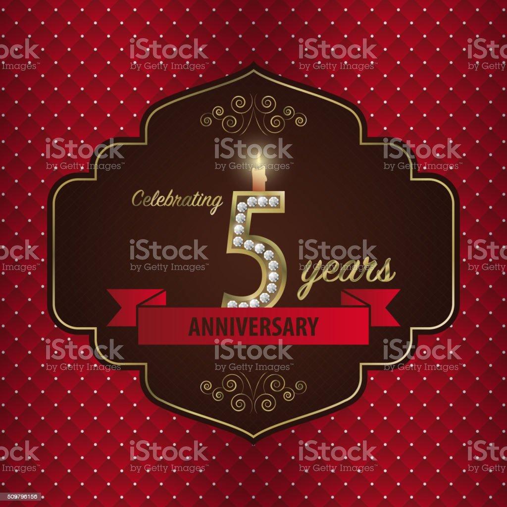 Celebrating 5 years anniversary. golden style. Vector vector art illustration