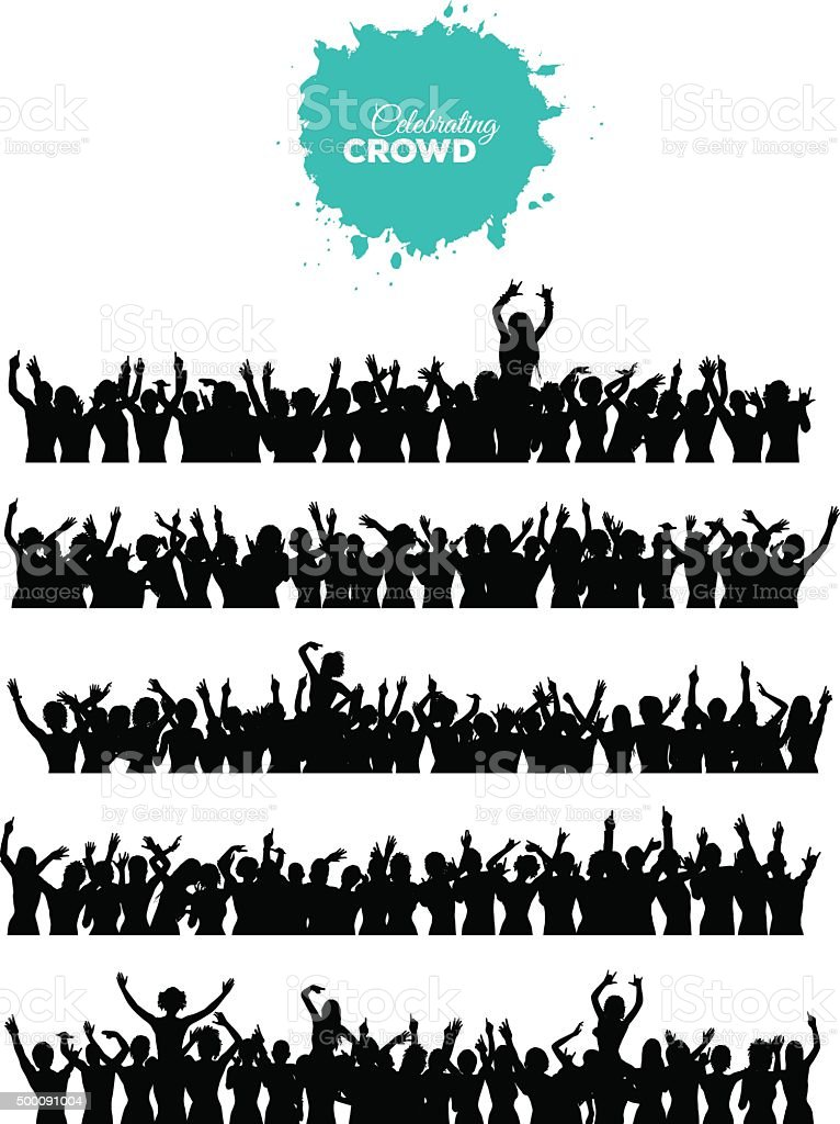 Celebrating Crowd Set vector art illustration