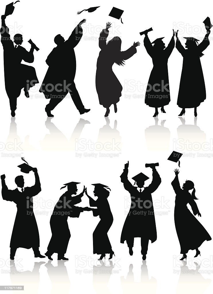 Celebrating graduate silhouettes vector art illustration