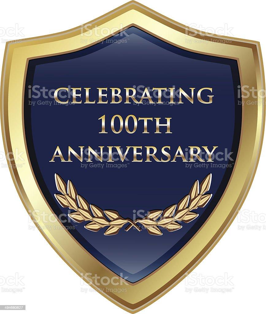 Celebrating Hundredth Anniversary Shield vector art illustration